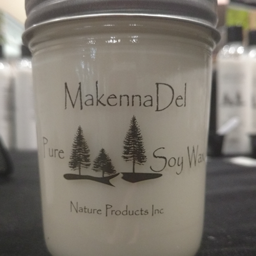 Product label on clear vinyl for MakennaDel Nature Products LLC.