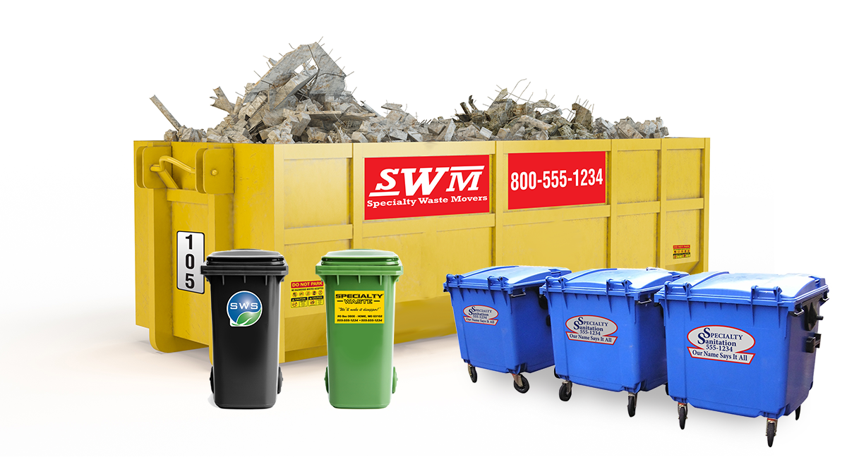 Dumpster decals including Company Identification labels on large dumpsters and toters and numbered labels to track the dumpster