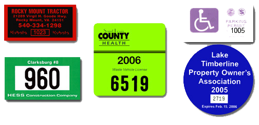 Grouping of examples of numbered labels including parking permits, numbered labels for equipment and hard hat labels
