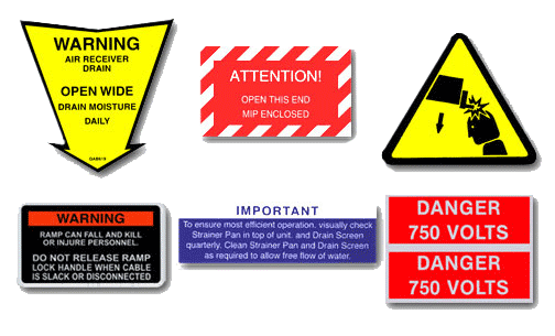 Examples of warning and safety stickers